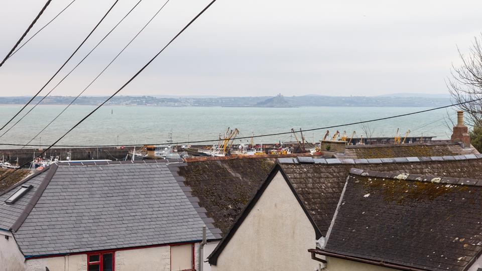 Views of St Michaels Mount can be seen across the bay.