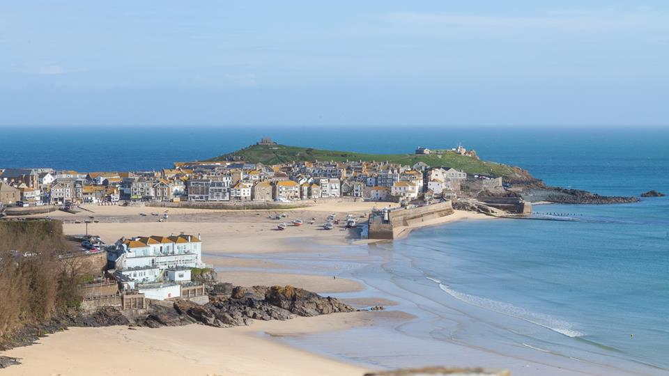 A totally stunning view across St Ives Harbour and beach from Porthia Bay.