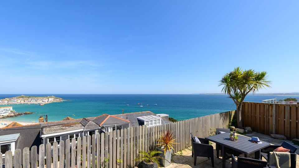 The view across St Ives Bay and Harbour is beautiful and can be enjoyed from the terraced patio area.