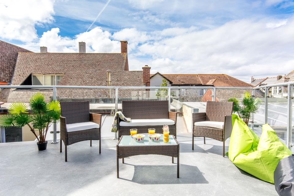 Roof terrace accessed from the living area