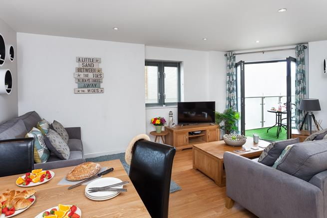 Comfortable furnishings in the open plan living space, makes Roks a cosy retreat for families of four.