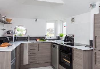 Kitchen with porthole window.