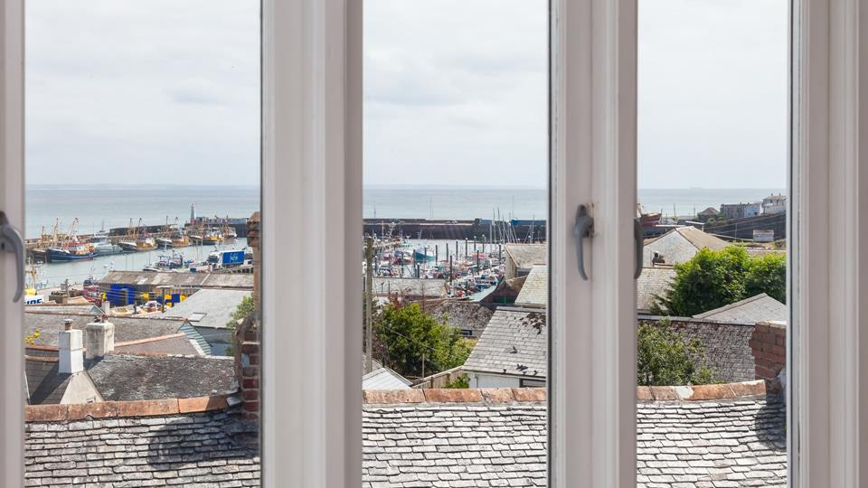 Rooftop views out to sea and across Mounts Bay from the open plan sitting/dining room