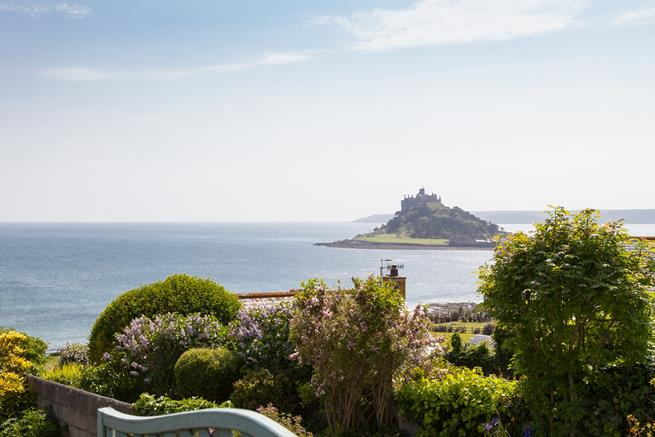 View of St Michael's Mount from the decking.