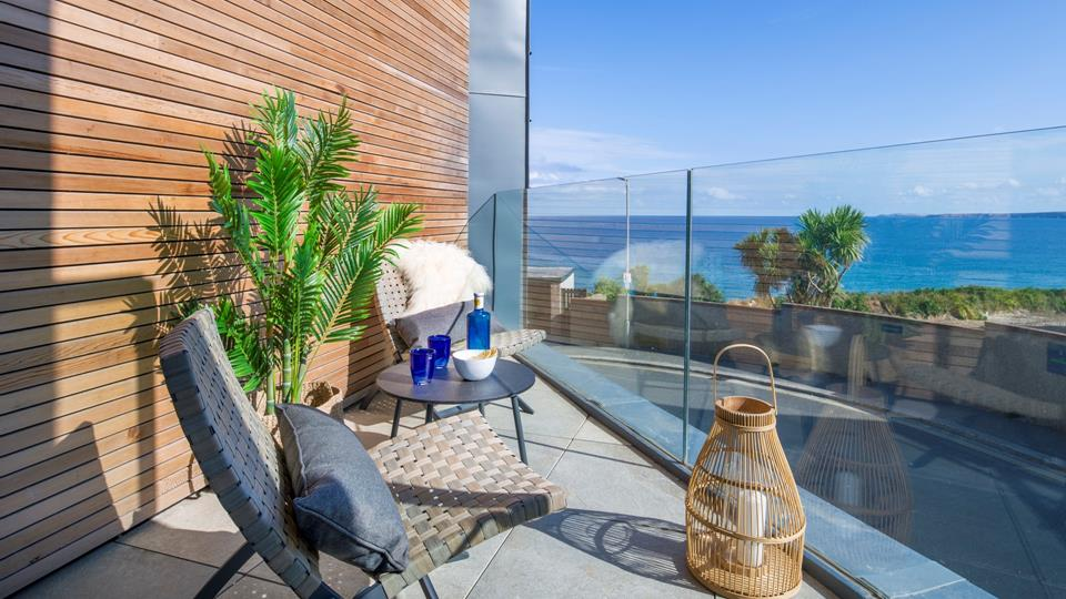The balcony from the living area has picturesque views of the north coast.