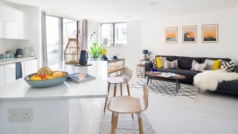 The modern, open plan living space on the first floor is perfect for socialising with the family.