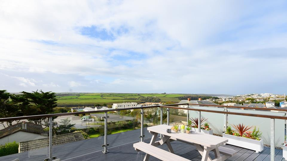 The roof terrace has gorgeous, far reaching views towards Crantock.