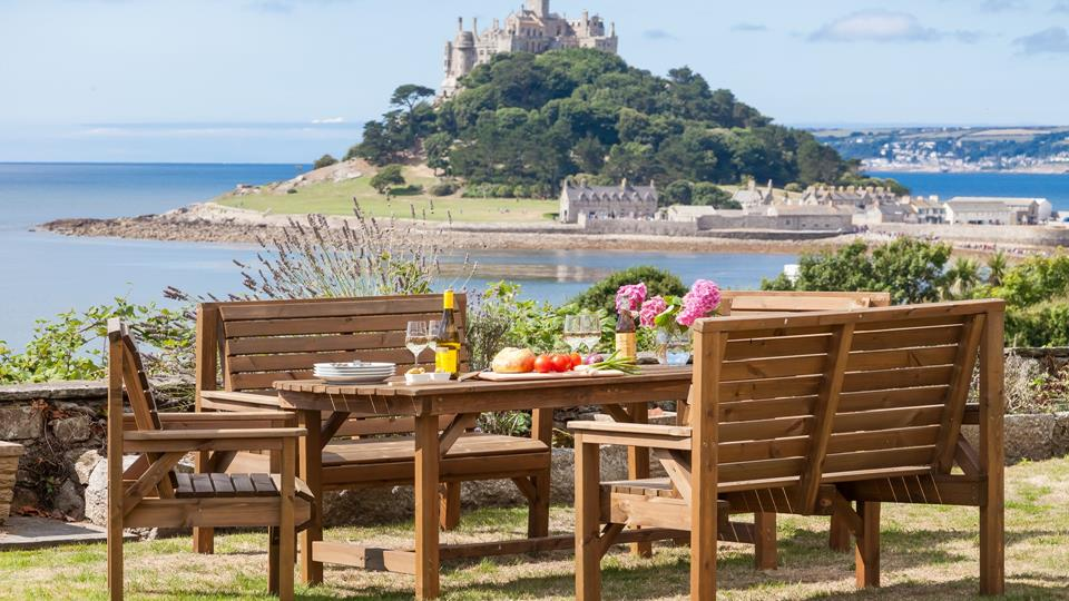 Spectacular views of St Michaels Mount from  the garden as well as almost every room in the house.