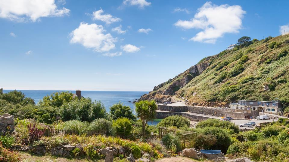 The large garden has unrivalled views of Lamorna Cove.