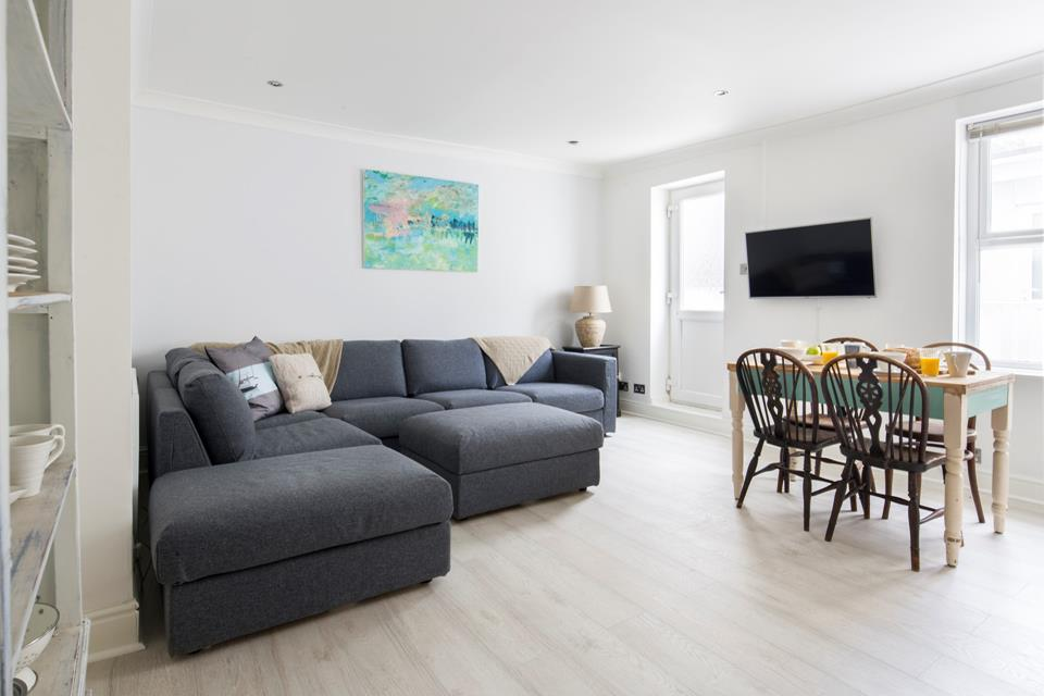 The spacious, open plan sitting dining area.