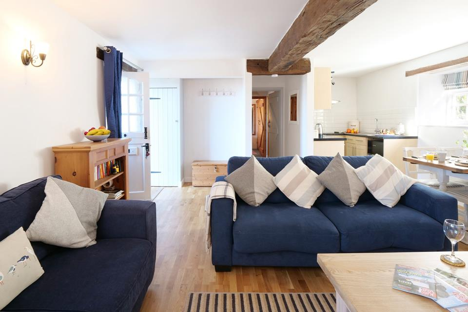 Granary Cottage rooms are all on one level with a spacious open and airy layout.