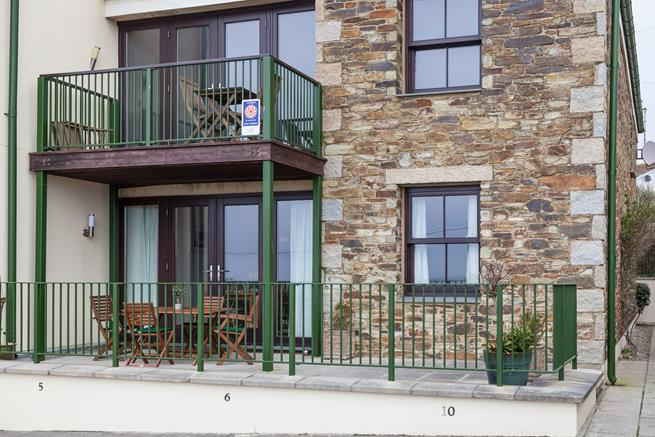 Ocean Blue is the ground floor apartment, open the doors from the open plan living area straight onto the terrace.