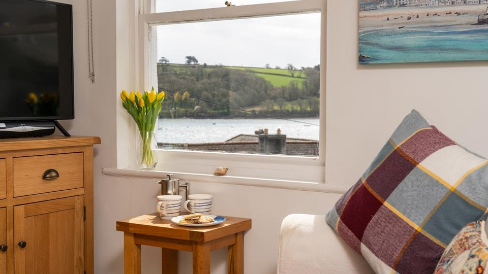 Open plan living area with views of the river Helford.