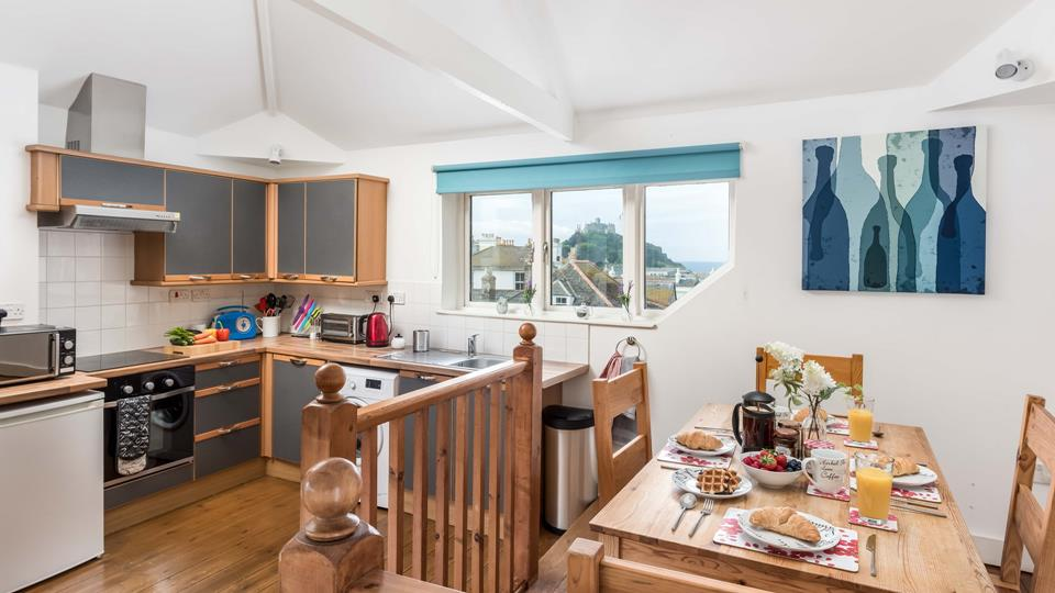 The light and bright kitchen with views of St Michaels Mount.