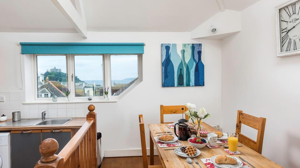 Dine in style at The Linen Loft, with views over the sea
