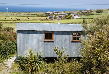 The Shepherd Hut is located in the heart of the Cornish countryside.