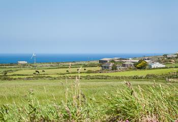 The Shepherd Hut has beautiful Cornish countryside and sea views.