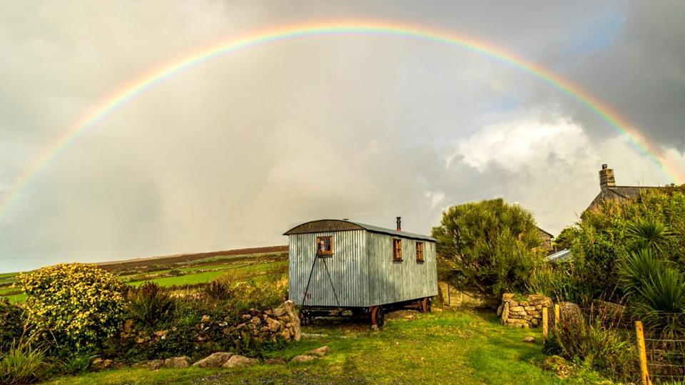The owners captured this magical rainbow over the shepherd's hut - amazing!