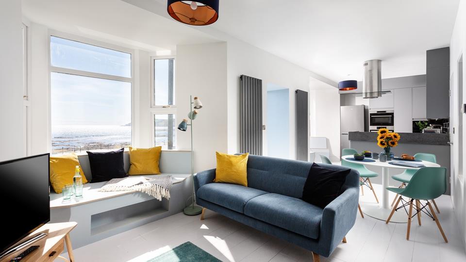 Stunning modern interior with beautiful sea views.