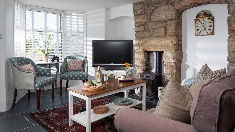 Cosy sitting room over looking Penzance promenade.