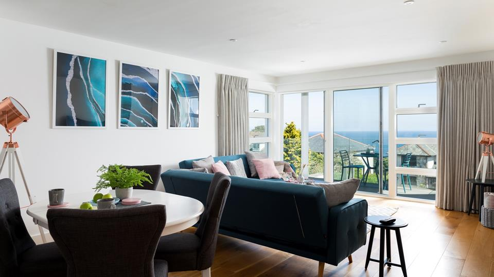Sea views can be enjoyed throughout the open plan living area.