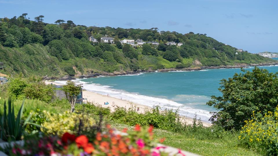 The view from the decking overlooking Carbis Bay beach.